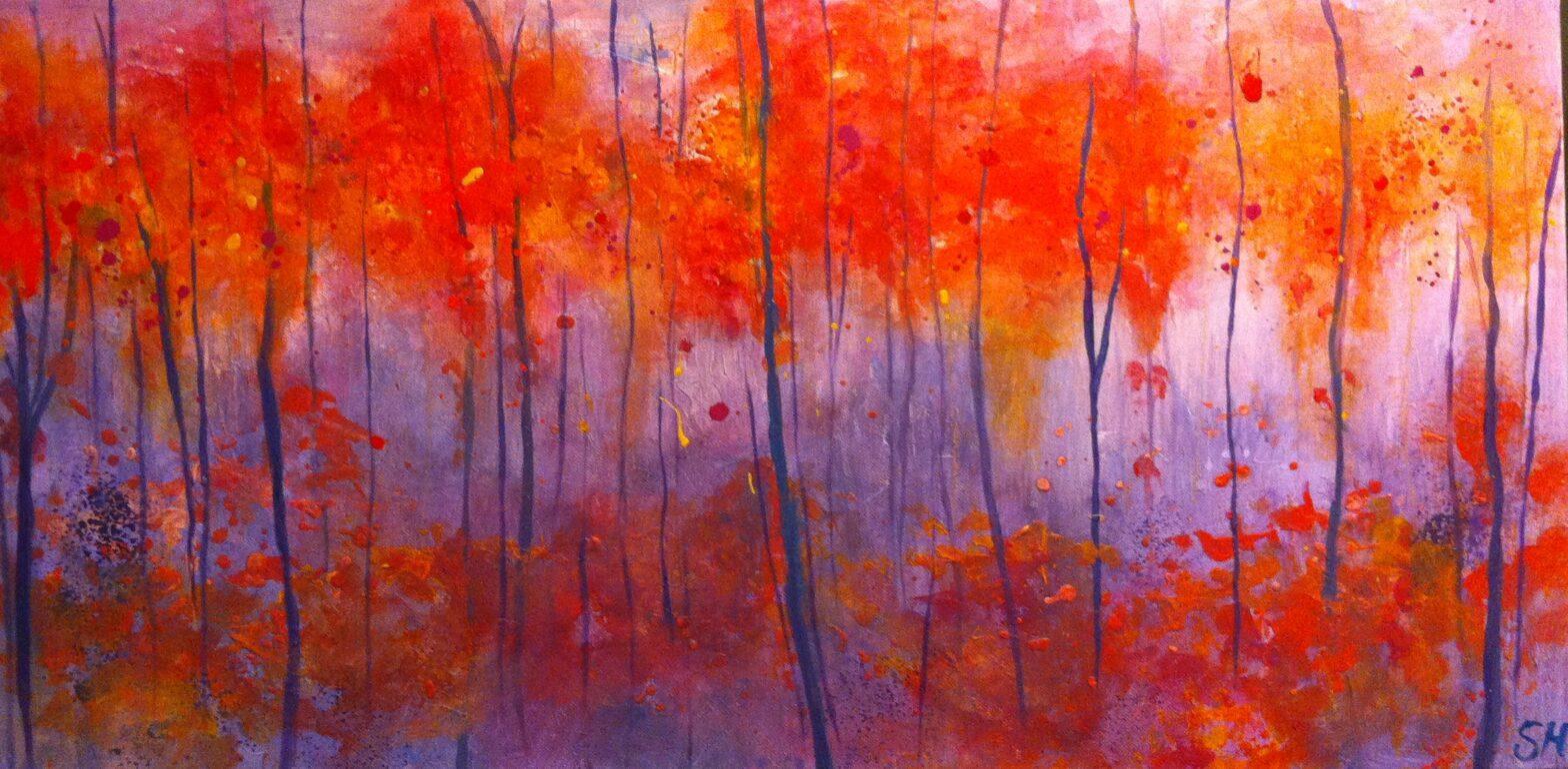 StephArts Stephanie van der Beek Natuur Bomen boom bos bossen Schilderij abstract abstrakt