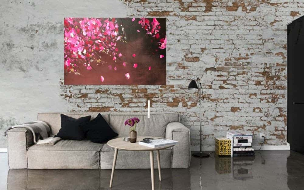 Abstract abstrakt woonkamer Kunst Schilderij Acryl StephArts Stephanie van der Beek Bloesem Blossom Lente