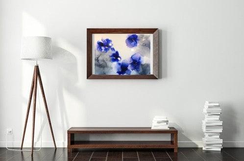 schilderij alcohol inkt epoxy bloemen natuur blauw