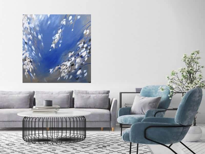 bloesem acryl schilderij blauw lente
