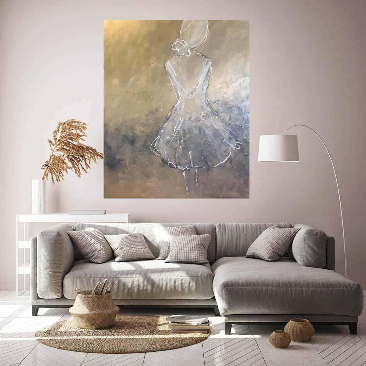 figuratief acryl schilderij dame