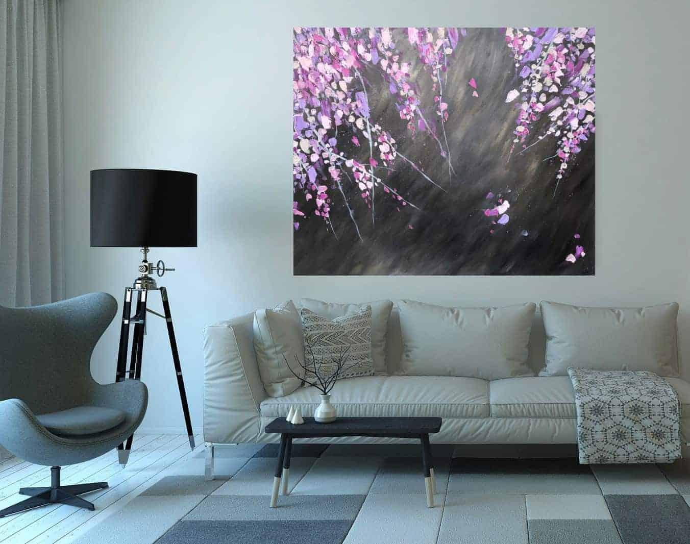 Schilderij bloesem acryl op canvas boven bank