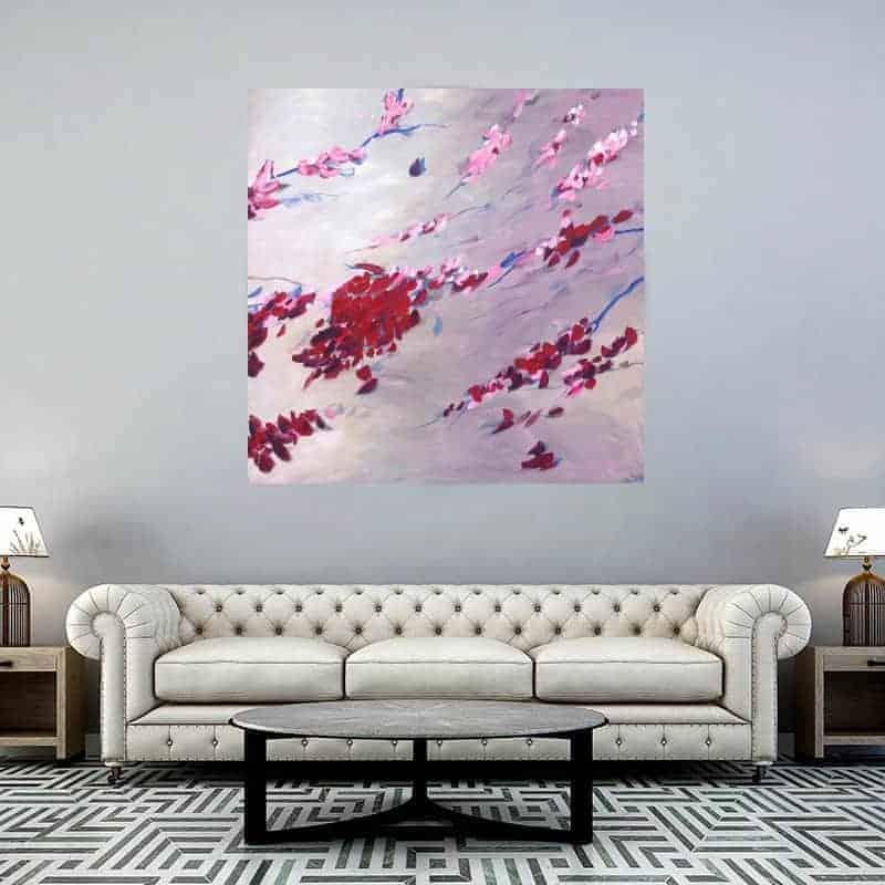 Bloesem schilderij acryl op canvas boven bank