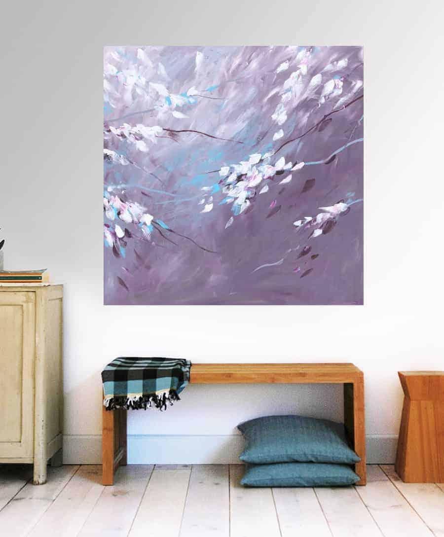 Bloesem schilderij acryl op canvas