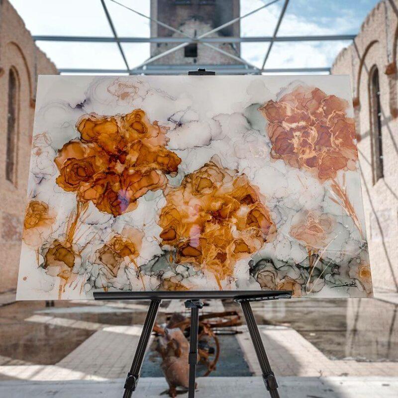 Epoxy schilderij StephArts bloemen geel orange