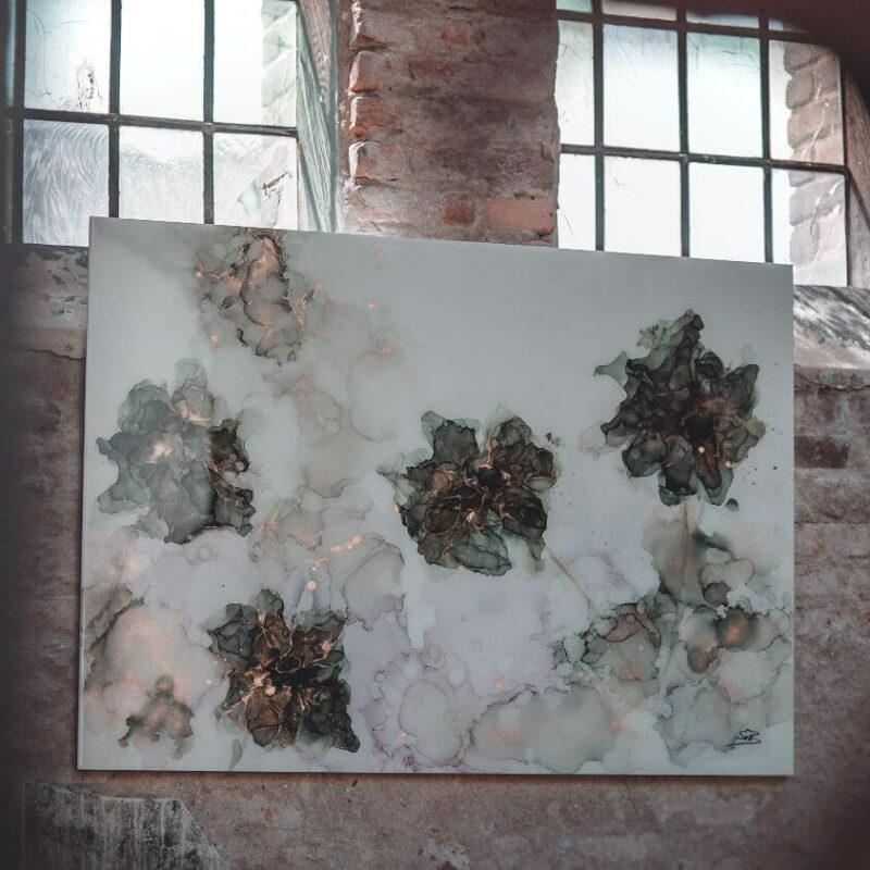 Epoxy schilderij StephArts bloemen zwart met wit