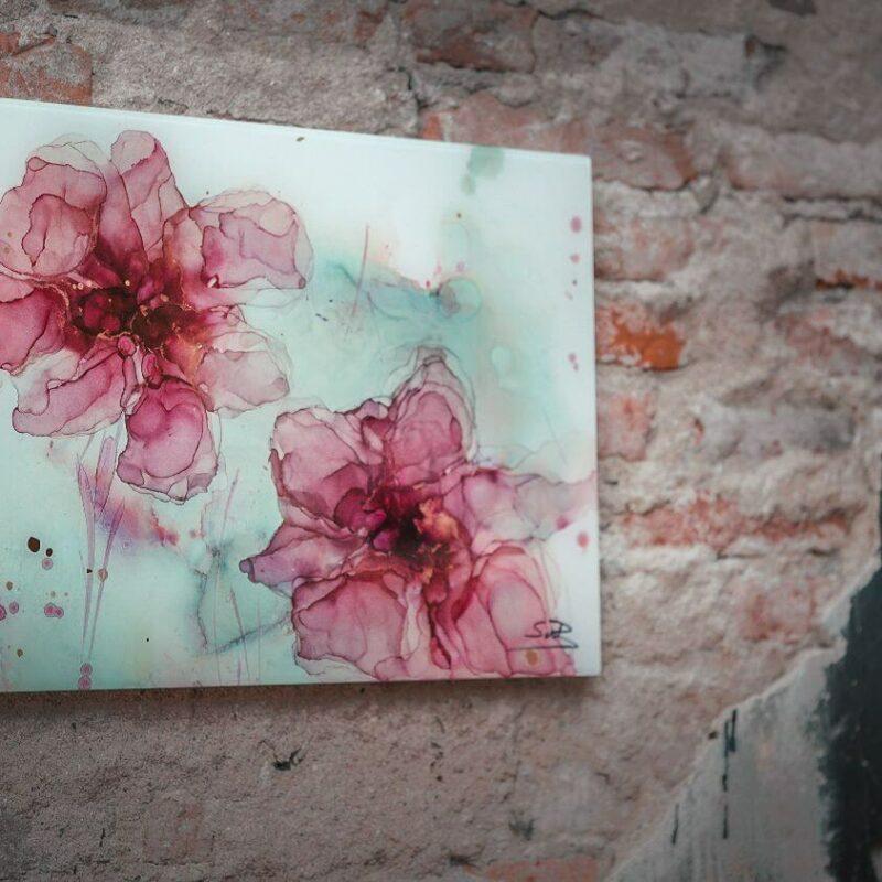Epoxy schilderij bloemen roze