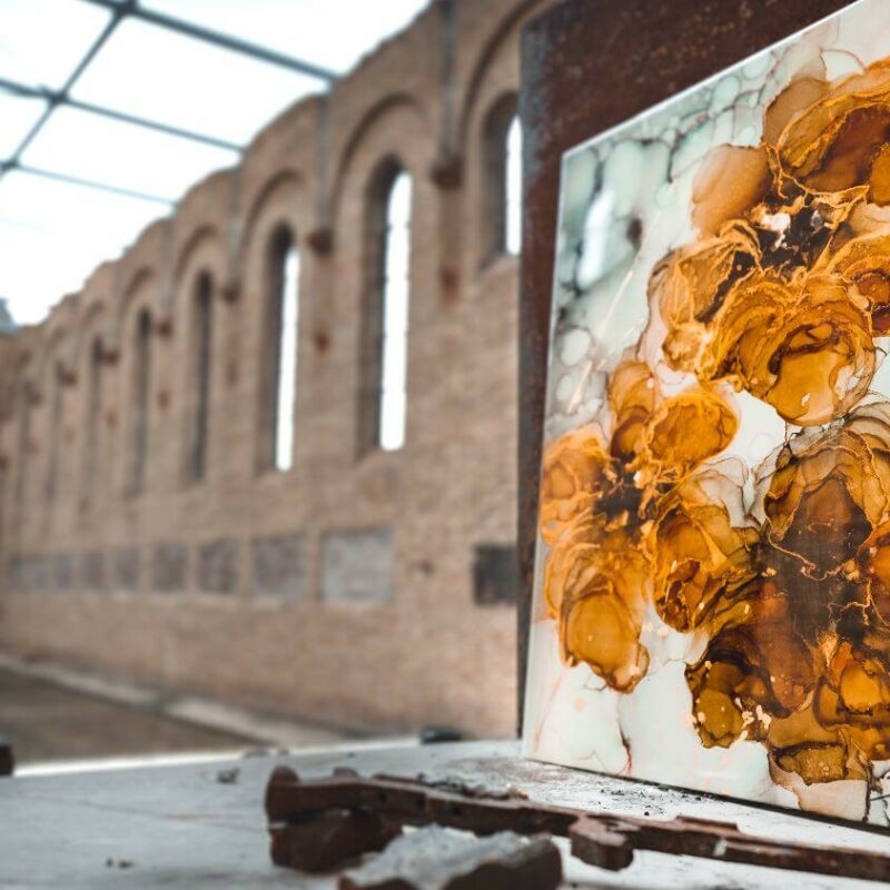 Epoxy schilderij bloemen goud geel