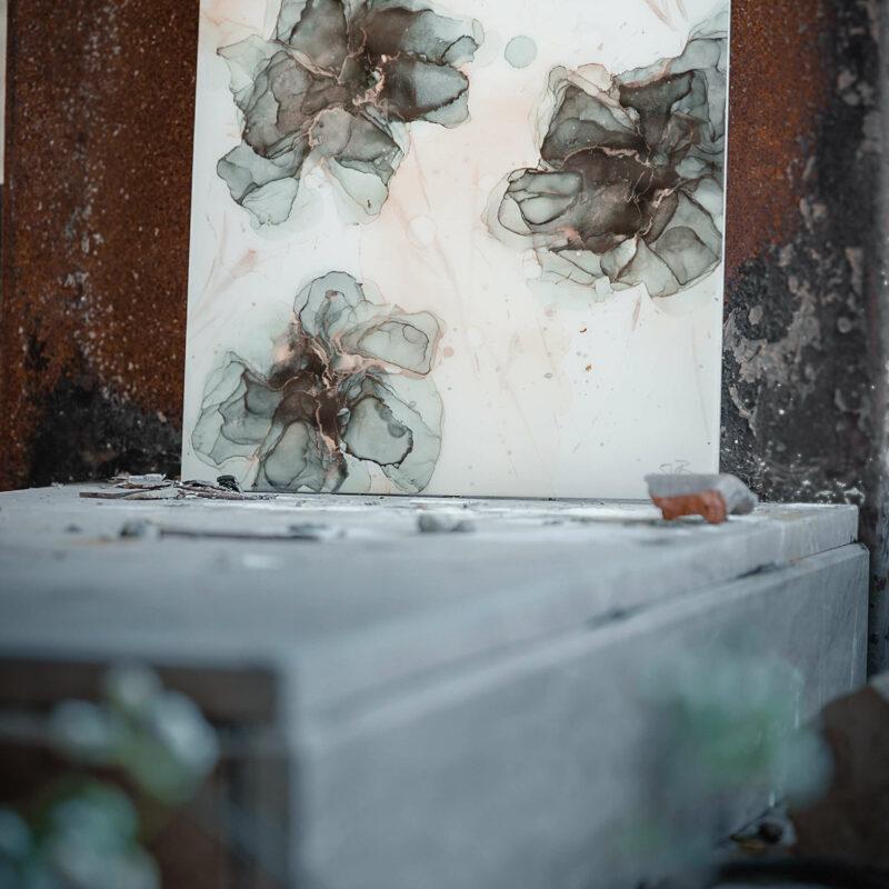 Epoxy schilderij bloemen zwart