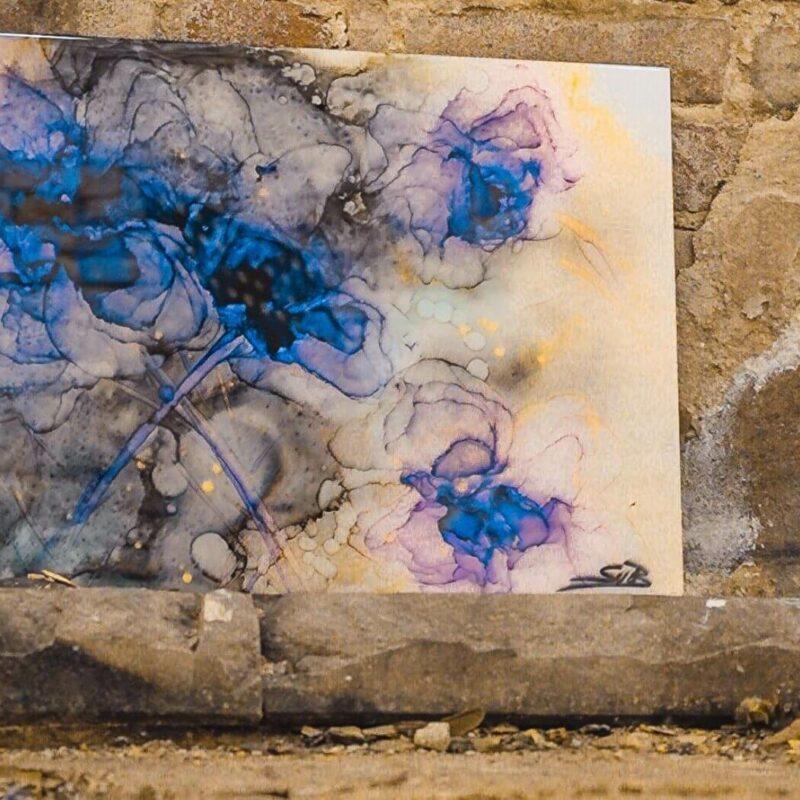 Epoxy schilderij bloemen blauw