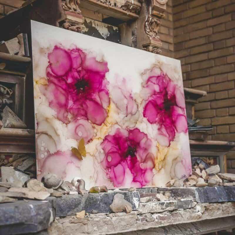 Abstracte bloemen vlinder Alcohol inkt en epoxy schilderij roze goud